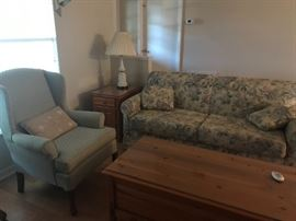 Sofa, accent chair, Coffee table, lamp table, and one of two lamps
