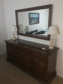 Ethan Allen dresser and mirror and figural lamps