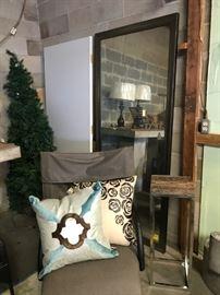 Floor mirror, retro grey lounge chairs