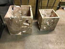 Freshly unpacked petrified wood planters (heavy, 3 sizes) - extremely beautiful and unique