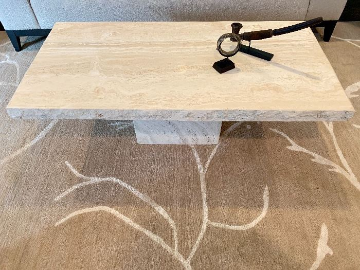 Maurice Villency travertine cocktail table