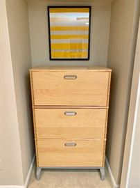 Contemporary three drawer file cabinet
