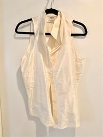Armani sleeveless silk blouse with stand up collar