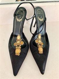 Rene Coavilla closed toe sling back pumps with embellishments
