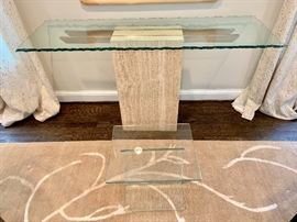 Maurice Villency glass topped sofa table.  Roche Bobois side table