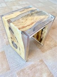 Wood in acrylic small side table, AS IS!