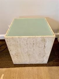 Contemporary glass/stone side table (1) that lights up!