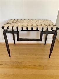 Ann Beige stool with basket weave seat