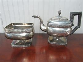 Thomas Fletcher & Sidney Gardiner Coin Silver  Eagle Head spout c.1820 Teapot and Waste bowl, Philadelphia