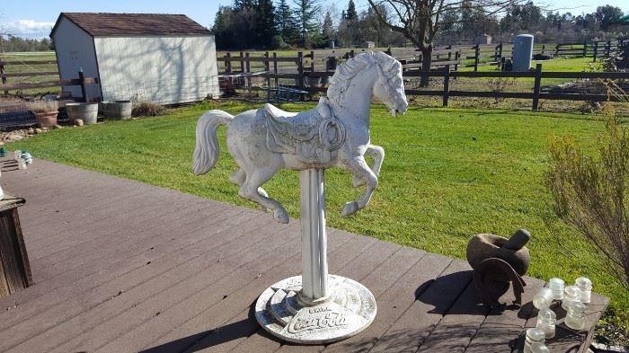 Vintage Cast Iron Coke Cola Carousel horse