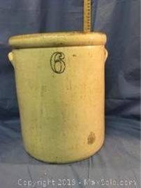 6 Gallon Stoneware Crock, Cobalt and Brown, measuring H 15 X Diameter 12.75 inches