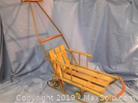 Baby Vintage Childrens Push sleigh measuring H 32 X D 26 X W12.5
