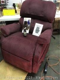 Golden Lift and Recline chair with owners manual. Works. Measures Apprx H 40 x D 34 X W 33 inches.