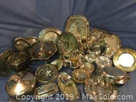 Large Grouping Of Silver Plate Items