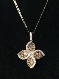 White and colored diamonds pendant