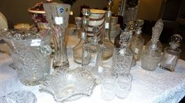 Crystal Decanter collection, some with glasses