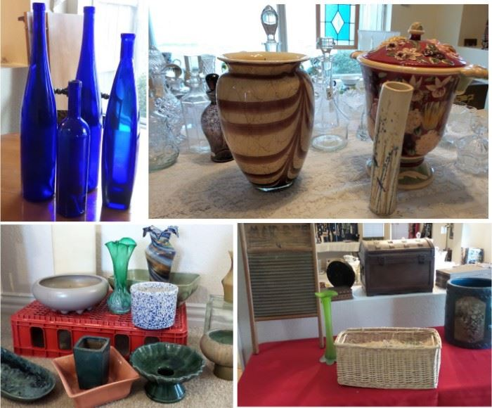 Blue glass vases, glass vases, pottery planters by McCoy and Hull