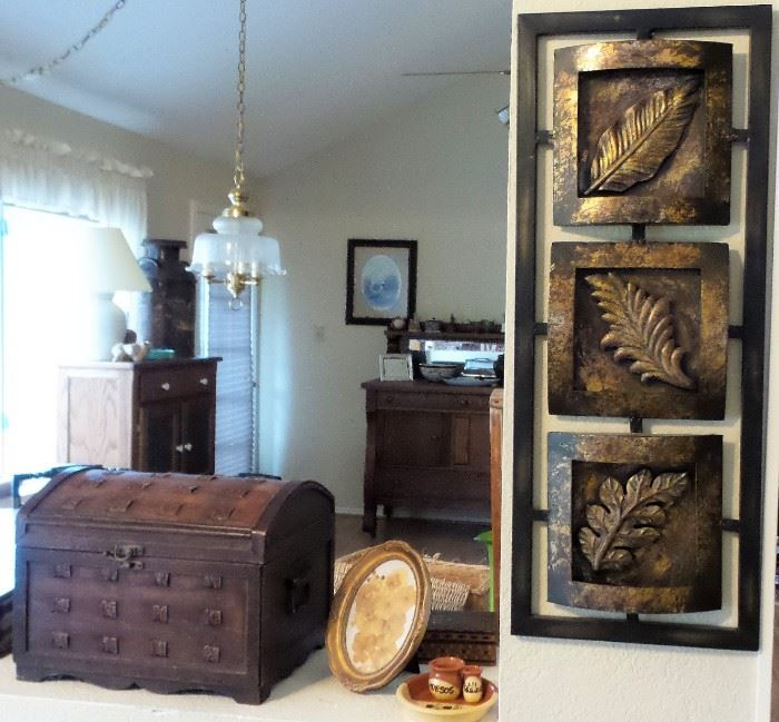 Old wood boxes.  Wall decor, home decor. Retro hanging lamp