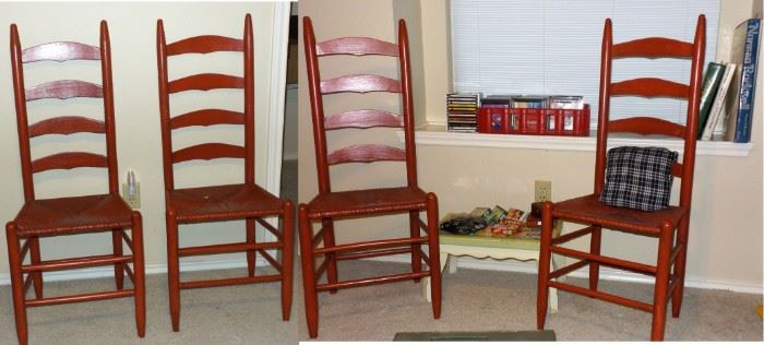 Set of red ladder back chairs with thrush seats
