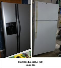 Stainless steel fridge, white fridge