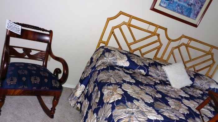 antique rocking chair. Bamboo style king headboard and mattress set