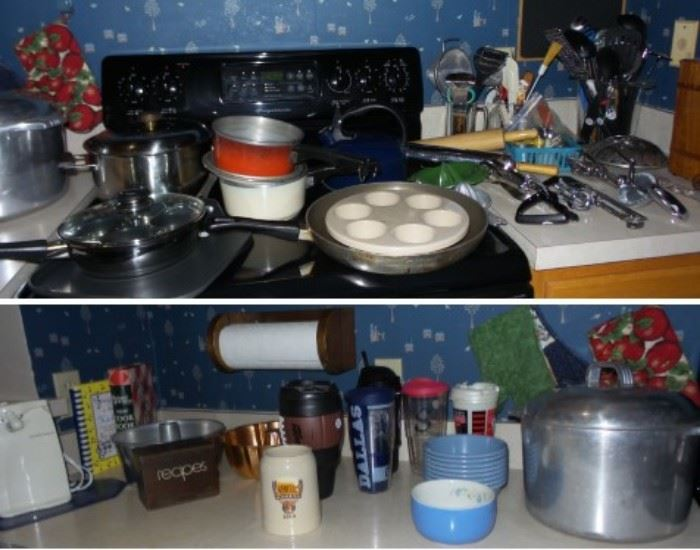 Full kitchen including Tervis Tumblers, faux  Yeti, Wagner Ware stock pot. Utensils and tools old to new