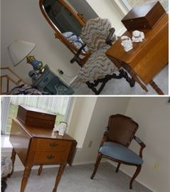 Drop leaf side table.  retro chairs, standing mirror