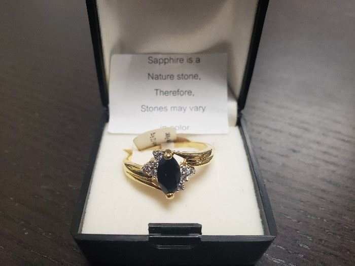 Sapphire ring and other costume jewelry