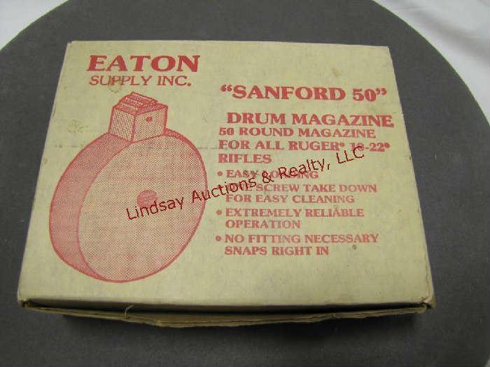 96 - NIB Eaton Sanford 50 drum mag for Ruger 10/22