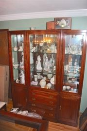 China Cabinet Filled with Lladros, Decorative Serving Pieces and more