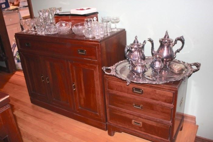 Cabinet and Server with Tea Set, Stemware and Decorative Serving Pieces
