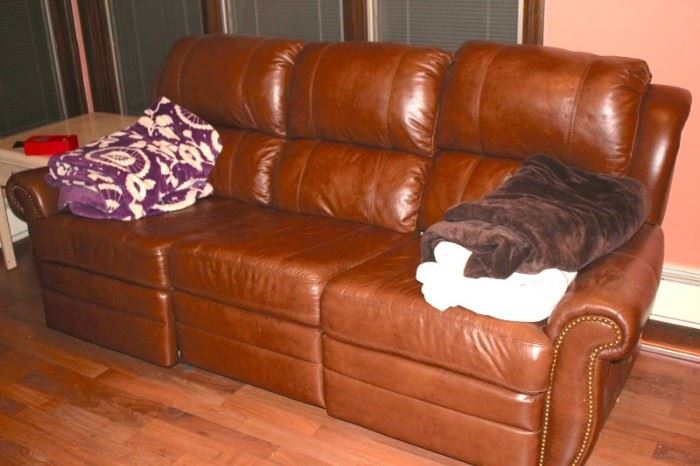 Leather Sofa and Blankets