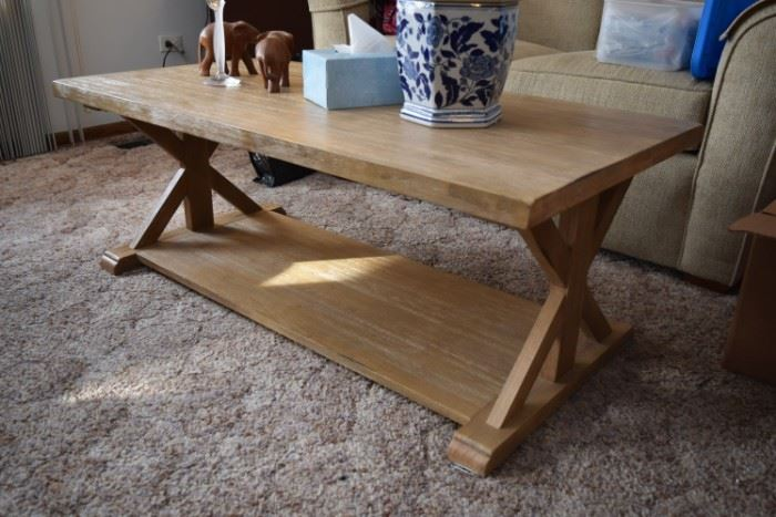 Wooden Coffee Table & Decor