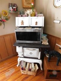 White Enamel and Cast Iron Victor Junior Stove