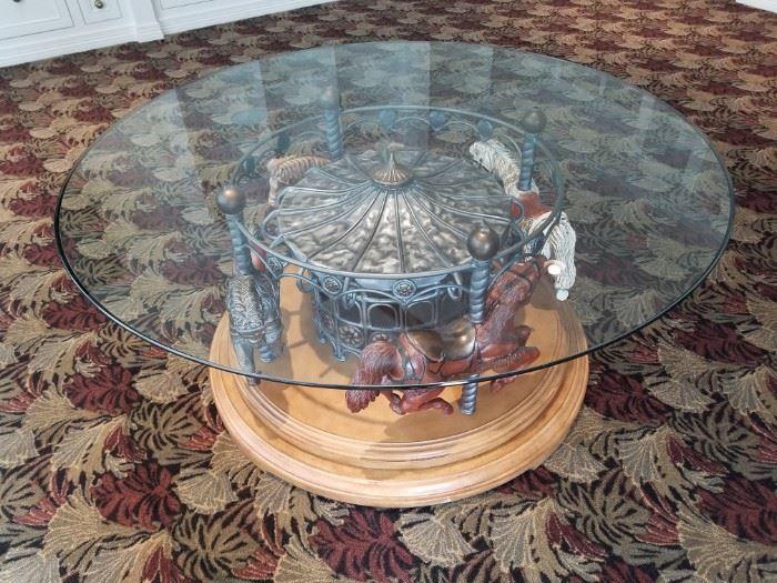 Gorgeous Round FourHorse Carousel Table
