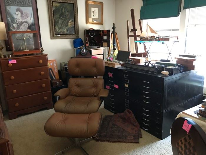 Selig Chair, Metal Cabinet, Art, Telescope, Scale & More!!