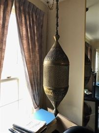 Mid century hanging brass lamp