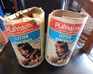 Vintage Playskool Wooden Letter Blocks