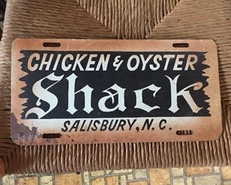 Salisbury, N.C. Chicken and Oyster Shack Advertising License Plate
