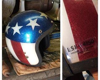 Vintage Metal Flake Red, White and Blue Motorcycle Helmet