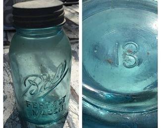 Number 13 Blue Ball Jar