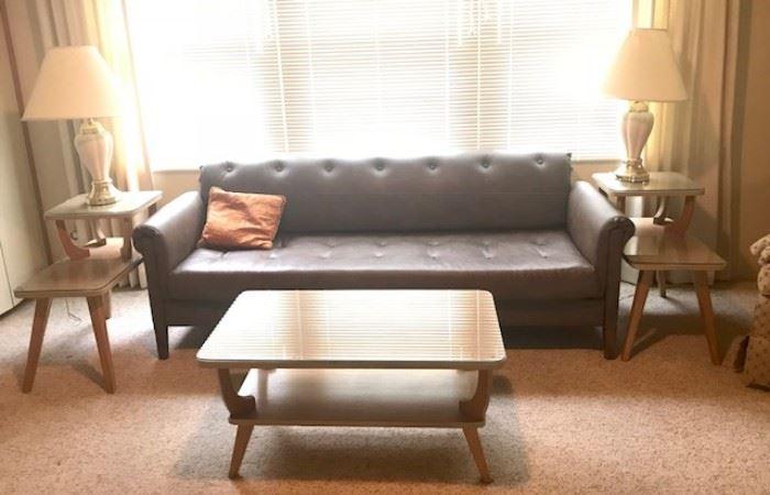 •1950's Danish Mid-Century Modern Furniture coffee table •1950's Danish Mid-Century Modern Furniture pair of atomic side tables •1950's Danish Mid-Century Modern couch