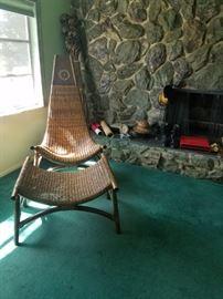 Huge Vintage Rattan Sling Chair w Ottoman