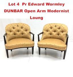 Lot 4 Pr Edward Wormley DUNBAR Open Arm Modernist Loung