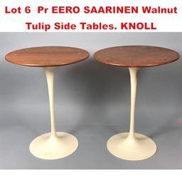 Lot 6 Pr EERO SAARINEN Walnut Tulip Side Tables. KNOLL