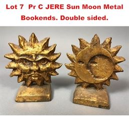 Lot 7 Pr C JERE Sun Moon Metal Bookends. Double sided.