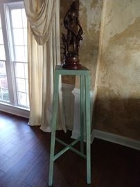 "Green metal stand, with vintage French bronze ""L'Instruction, by Bruchon."