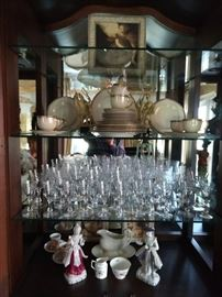 "Nice set of Lenox ""McKinley"" Presidential china and full set of cut crystal stemware."
