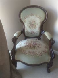 Victorian mahogany armchair, with needlepoint work, designed by Squidward Tentacles.