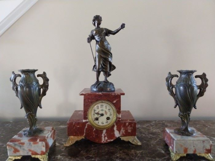 Vintage French bronze and marble clock set.